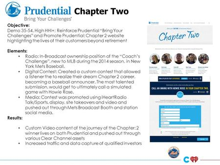 "Chapter Two Objective: Demo 35-54, High HHI+; Reinforce Prudential ""Bring Your Challenges"" and Promote Prudential: Chapter 2 website highlighting the lives."