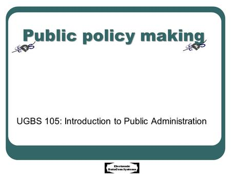 UGBS 105: Introduction to Public Administration