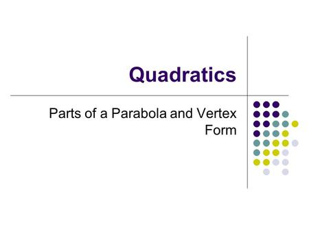 Parts of a Parabola and Vertex Form
