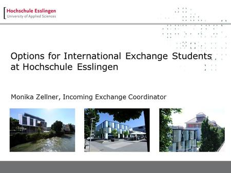 Options for International Exchange Students at Hochschule Esslingen Monika Zellner, Incoming Exchange Coordinator.