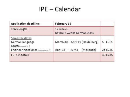 IPE – Calendar Application deadline :February 15 Track length :12 weeks + before 2 weeks German class Semester dates German language course (module F)