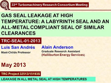 33rd Turbomachinery Research Consortium Meeting