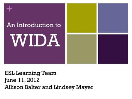 + ESL Learning Team June 11, 2012 Allison Balter and Lindsey Mayer An Introduction to WIDA.