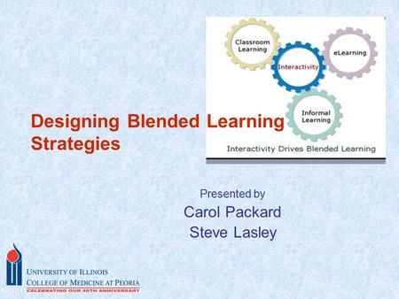 Presented by Carol Packard Steve Lasley Designing Blended Learning Strategies.
