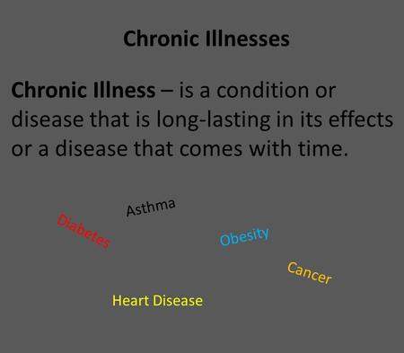 Chronic Illnesses Chronic Illness – is a condition or disease that is long-lasting in its effects or a disease that comes with time. Diabetes Obesity Asthma.