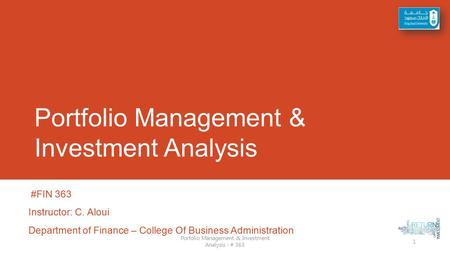 Portfolio Management & Investment Analysis