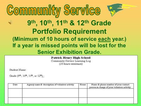 9 th, 10 th, 11 th & 12 th Grade Portfolio Requirement (Minimum of 10 hours of service each year.) If a year is missed points will be lost for the Senior.