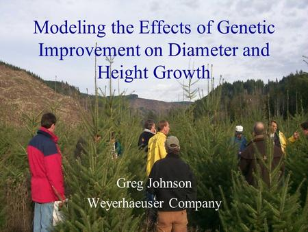 Modeling the Effects of Genetic Improvement on Diameter and Height Growth Greg Johnson Weyerhaeuser Company.