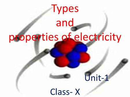 Types and properties of electricity Unit-1 Class- X.