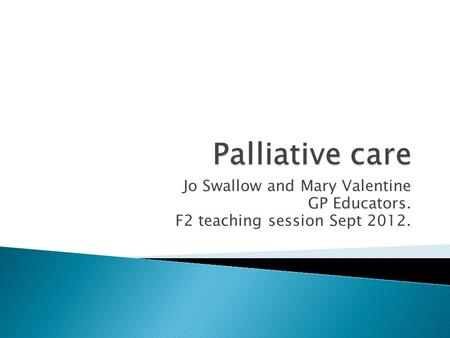 Jo Swallow and Mary Valentine GP Educators. F2 teaching session Sept 2012.