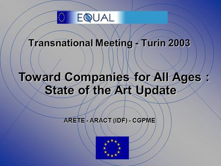 Transnational Meeting - Turin 2003 Toward Companies for All Ages : State of the Art Update ARETE - ARACT (IDF) - CGPME.