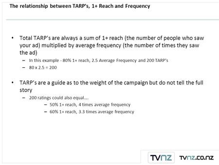 The relationship between TARP's, 1+ Reach and Frequency Total TARP's are always a sum of 1+ reach (the number of people who saw your ad) multiplied by.