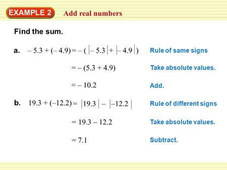 EXAMPLE 2 Add real numbers Find the sum. Rule of same signs Take absolute values. = – (5.3 + 4.9) = – 10.2 Add. a. – 5.3 + (– 4.9) Rule of different signs.