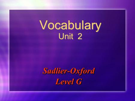 Sadlier-Oxford Level G