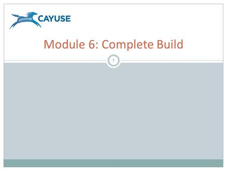 1 Module 6: Complete Build. Objectives 2 Welcome to the Cayuse424 Complete Build Module. In this module you will learn how to:  Attach documents to your.