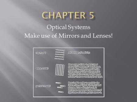 Optical Systems Make use of Mirrors and Lenses!.  Sir Isaac Newton – developed the particle model of light- thought that light was made of tiny particles.