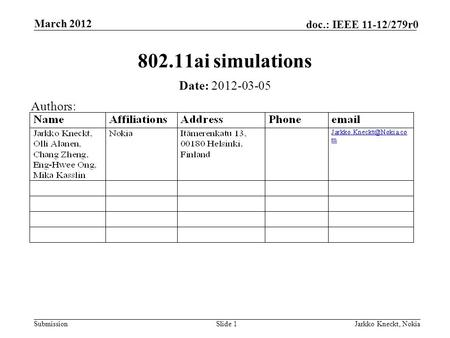 Submission doc.: IEEE 11-12/279r0 March 2012 Jarkko Kneckt, NokiaSlide 1 802.11ai simulations Date: 2012-03-05 Authors:
