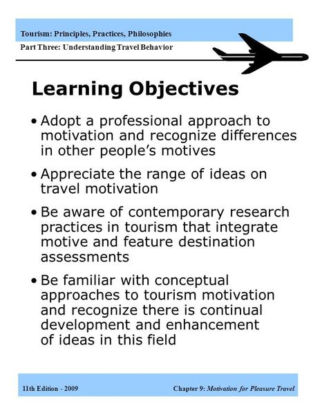 travel behavior and travel motivation Determining future travel behavior from past travel experience and perceptions of  information integration theory and protection motivation theory served as the.