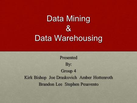 Data Mining & Data Warehousing PresentedBy: Group 4 Kirk Bishop Joe Draskovich Amber Hottenroth Brandon Lee Stephen Pesavento.