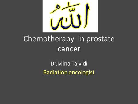 Chemotherapy in prostate cancer