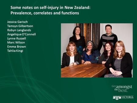 Some notes on self-injury in New Zealand: Prevalence, correlates and functions Jessica Garisch Tamsyn Gilbertson Robyn Langlands Angelique O'Connell Lynne.