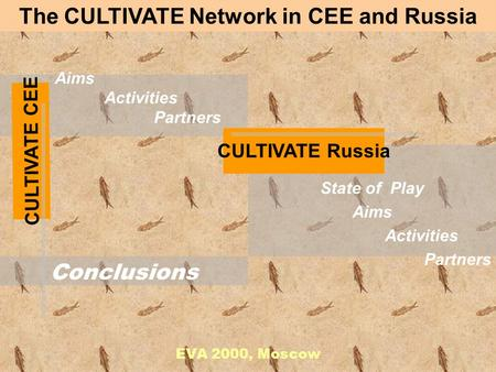 Aims Activities Partners EVA 2000, Moscow The CULTIVATE Network in CEE and Russia State of Play Aims Activities Partners Conclusions CULTIVATE CEE CULTIVATE.