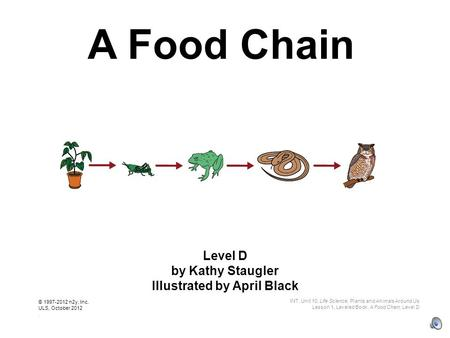 A Food Chain Level D by Kathy Staugler Illustrated by April Black INT, Unit 10, Life Science, Plants and Animals Around Us Lesson 1, Leveled Book, A Food.
