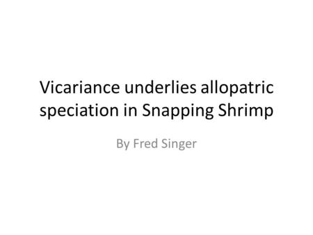 Vicariance underlies allopatric speciation in Snapping Shrimp By Fred Singer.