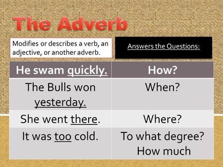 The Adverb He swam quickly. How? The Bulls won yesterday. When?