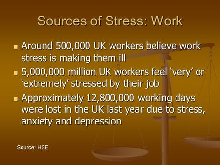 Sources of Stress: Work Around 500,000 UK workers believe work stress is making them ill Around 500,000 UK workers believe work stress is making them ill.