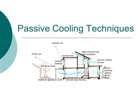 Passive Cooling Techniques. PASSIVE COOLING Passive cooling systems are least expensive means of cooling a home which maximizes the efficiency of the.