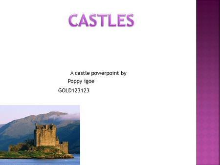 A castle powerpoint by Poppy igoe GOLD123123. Hello and welcome to Poppy Igoe and GOLD12123 production we hope you enjoy as we worked very hard to make.