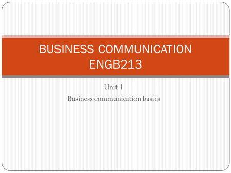 BUSINESS COMMUNICATION ENGB213