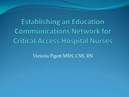 Victoria Pigott MSN, CNS, RN. The College of Nursing and Health Professions background History of educational opportunities Nursing programs established.