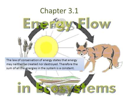 Chapter 3.1 The law of conservation of energy states that energy may neither be created nor destroyed. Therefore the sum of all the energies in the system.