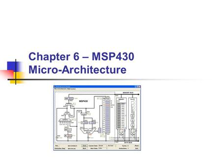 Chapter 6 – MSP430 Micro-Architecture