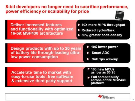 1 8-bit developers no longer need to sacrifice performance, power efficiency or scalability for price Deliver increased features and functionality with.