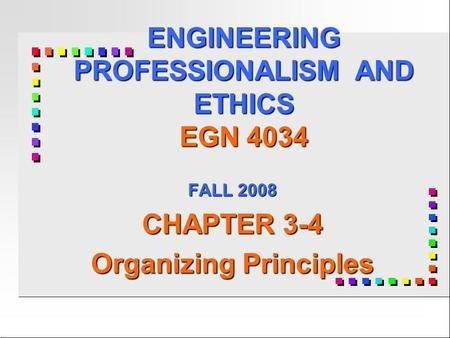 ENGINEERING PROFESSIONALISM AND ETHICS EGN 4034 FALL 2008 CHAPTER 3-4 Organizing Principles.