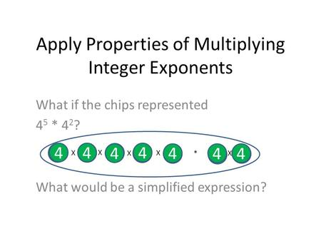 Apply Properties of Multiplying Integer Exponents What if the chips represented 4 5 * 4 2 ? What would be a simplified expression? 4 4 4 4 44 4 X X X X.