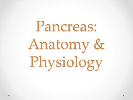 Pancreas: Anatomy & Physiology