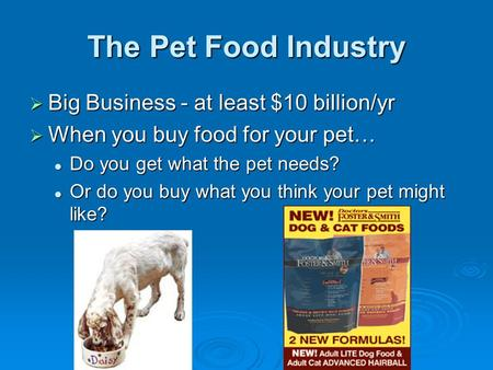The Pet Food Industry  Big Business - at least $10 billion/yr  When you buy food for your pet… Do you get what the pet needs? Do you get what the pet.