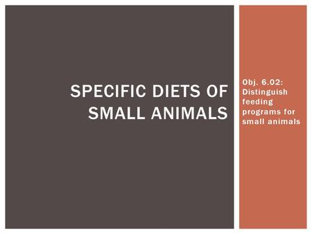 Obj. 6.02: Distinguish feeding programs for small animals SPECIFIC DIETS OF SMALL ANIMALS.