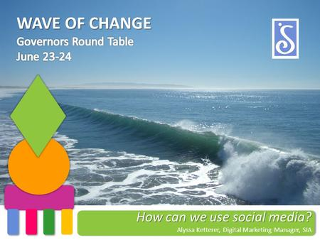 WAVE OF CHANGE How can we use social media? Alyssa Ketterer, Digital Marketing Manager, SIA.