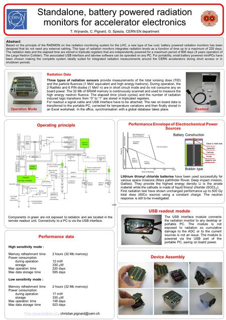 Abstract: Based on the principle of the RADMON on line radiation monitoring system for the LHC, a new type of low cost, battery powered radiation monitors.