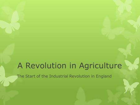 A Revolution in Agriculture The Start of the Industrial Revolution in England.