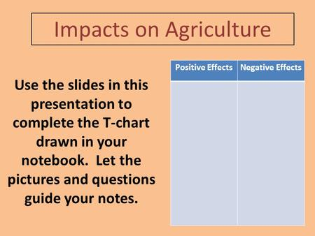 Impacts on Agriculture Positive EffectsNegative Effects Use the slides in this presentation to complete the T-chart drawn in your notebook. Let the pictures.