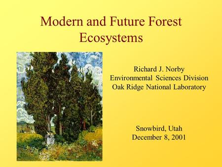 Modern and Future Forest Ecosystems Richard J. Norby Environmental Sciences Division Oak Ridge National Laboratory Snowbird, Utah December 8, 2001.