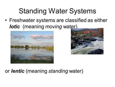 Standing Water Systems Freshwater systems are classified as either lotic (meaning moving water) or lentic (meaning standing water)