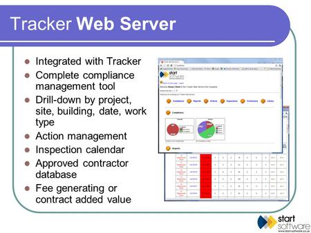 Tracker Web Server Integrated with Tracker Complete compliance management tool Drill-down by project, site, building, date, work type Action management.