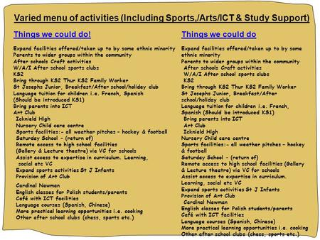 Varied menu of activities (Including Sports,/Arts/ICT & Study Support) Things we could do! Expand facilities offered/taken up to by some ethnic minority.